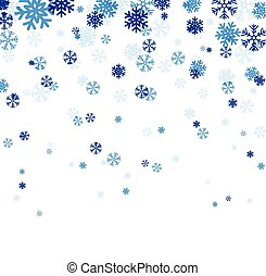 bleu, tomber, snowflakes.