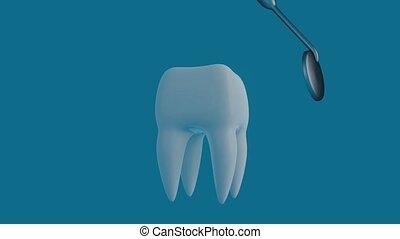bleu, tool., dentiste, fond, dent