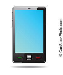 bleu, touchscreen, smartphone, écran, résumé