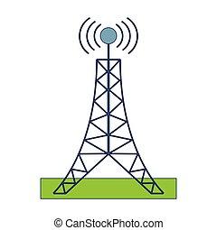 bleu, tour, lignes, télécommunication, antenne