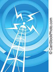 bleu, tour, radiodiffusion