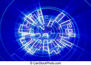 bleu, tourbillon, blanc, rectangles, ligne