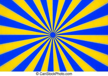 bleu, tourner, disque, jaune
