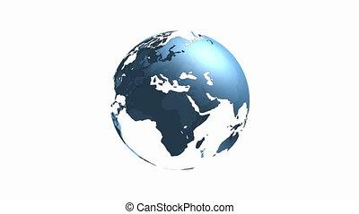 bleu, tourner, globe, mondiale, transparent, boucle, 3d