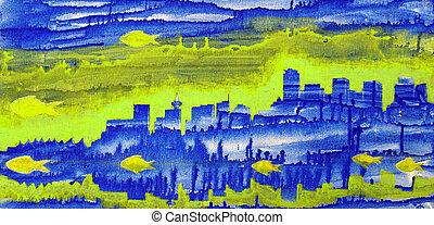 bleu, tours, résumé,  Vancouver, Poissons, peinture