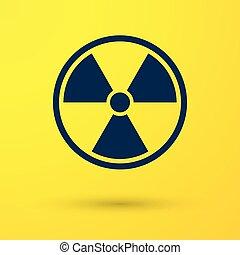 bleu, toxique, radioactif, signe., radiation, isolé, illustration, symbole., arrière-plan., vecteur, jaune, danger, icône