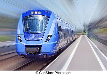 bleu, train, dans mouvement