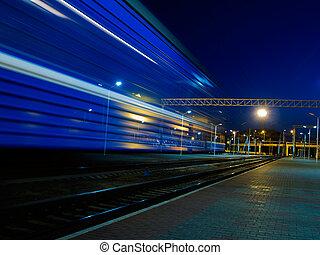 bleu, train, expédier, barbouillage