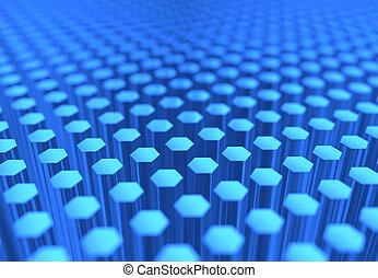 bleu, transparent, hexagones