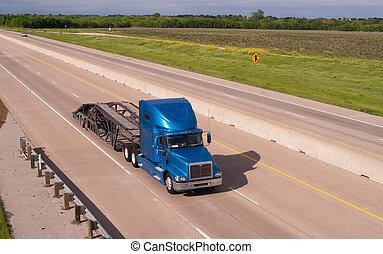 bleu, transporteur, transport, semi, grand camion, voiture, derrick, autoroute