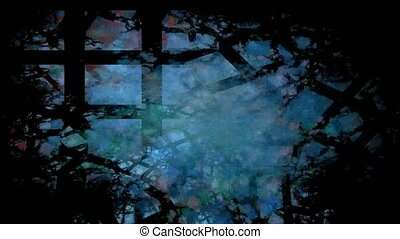bleu, treillis, arrière-plan noir