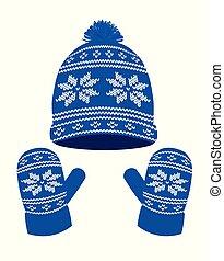 bleu, tricoté, gants, chapeau hiver