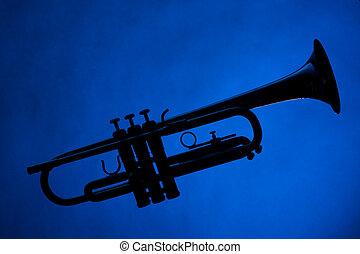 bleu, trompette, silhouette, isolé