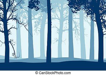 bleu, troncs, branches, arbre, illustration, vecteur, forêt