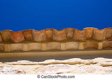 bleu, tuiles, avant-toit, ciel, détail, toit, argile, pierre