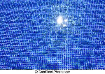 bleu, tuiles, reflet, texture, eau, piscine, natation