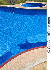 bleu, tuiles, texture, eau, piscine, natation
