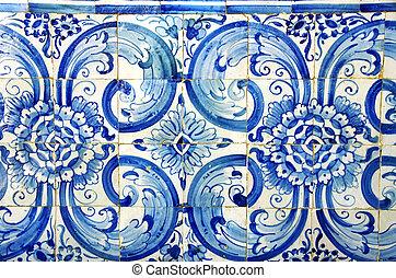 bleu, tuiles, vieux, portugal