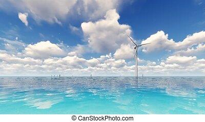 bleu, turbine, vent, mer