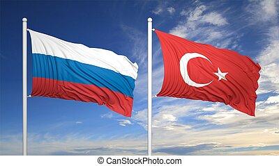 bleu, turc, ciel, contre, drapeaux, russe