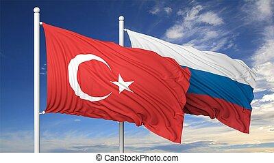 bleu, turc, ciel, deux, contre, drapeaux, russe