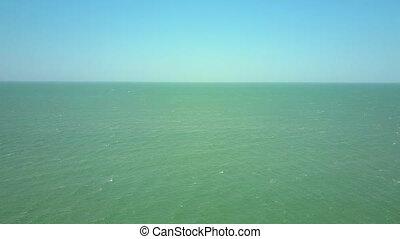 bleu, turquoise, vol, sur, ciel, océan, sans bornes, sous
