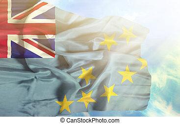 bleu, tuvalu, ciel, contre, drapeau ondulant, sunrays