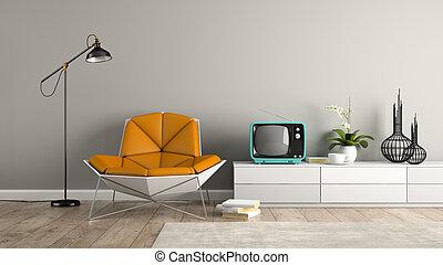 bleu, tv, fauteuil, moderne, rendre, partie, intérieur, 3d