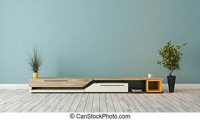 bleu, tv, moderne, mur, conception, stand