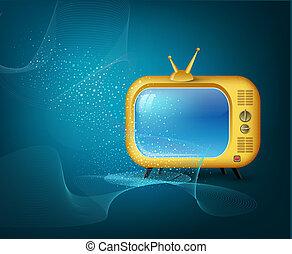 bleu, tv, vecteur, fond, jaune
