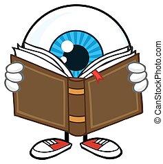 bleu, type, globe oculaire, livre, lecture