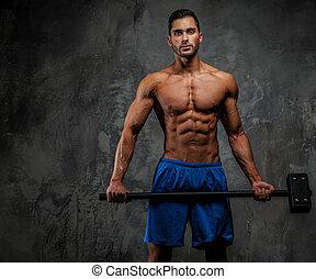 bleu, type, musculaire, short