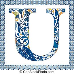 bleu, u, lettre