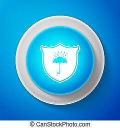 bleu, umbrella., bouclier, protection, imperméable, résistant, signe., isolé, illustration, symbole., eau, ligne., vecteur, arrière-plan., cercle, bouton blanc, icône