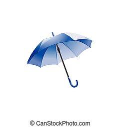 bleu, umbrella., isolé, illustration, vecteur, fond, blanc