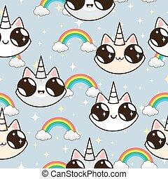 bleu, unicorns, arrière-plan., chats, rainbow., licorne