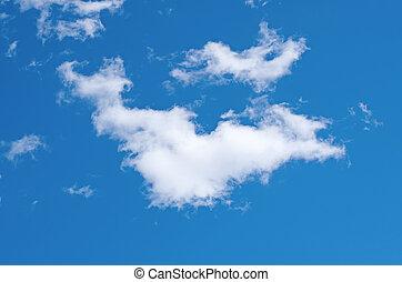 bleu, unique, nuage ciel