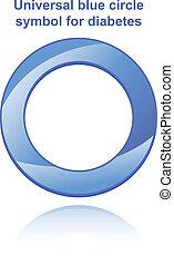 bleu, universel, symbole, cercle, diabète
