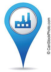 bleu, usine, emplacement, icône