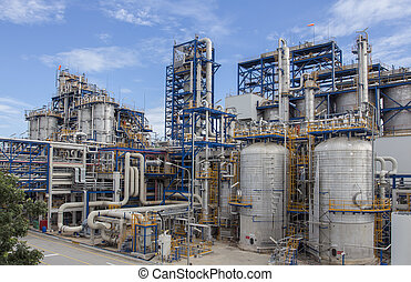 bleu, usine pétrochimique, esprit, ciel