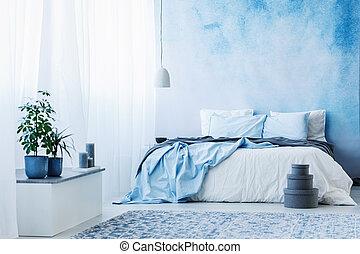 bleu, usines, plancher, double, ciel, gris, lit, boîtes, chambre à coucher, intérieur
