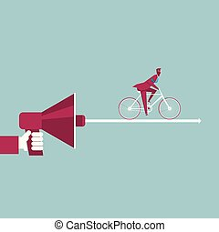 bleu, vélo, arrow., isolé, main, arrière-plan., megaphone., tenue, homme affaires, équitation