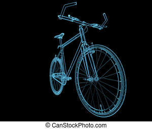bleu, vélo, isolé, noir, transparent, rayon x
