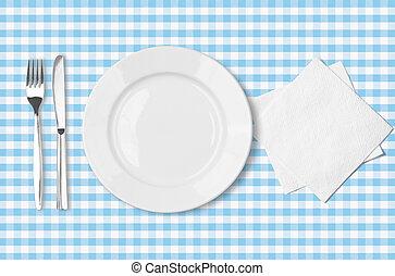 bleu, vérifié, fourchette, plaque, sur, serviette, tissu, nappe, sommet, couteau, vue