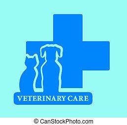 bleu, vétérinaire, isolé, soin, icône