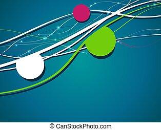 bleu, -, vague, aviateur, arrière-plan vert, conception, cercle