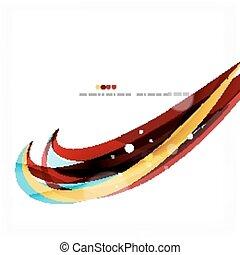 bleu, vague légère, orange, lines., conception, tourbillon, rouges