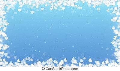 bleu, valentines, cadre, voler, arrière-plan., vidéo, cœurs, jour