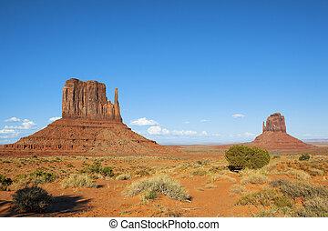 bleu, vallée, ciel, monument