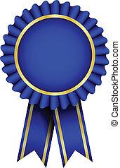 bleu, vecteur, écusson, ruban